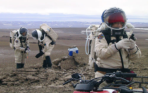 Crew-members-checking-equipment-during-EVA